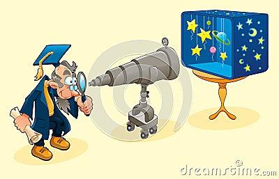 Scientist with telescope.