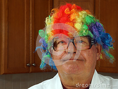 Scientist wears a clown wig