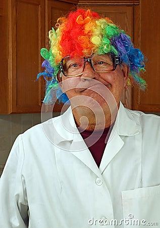 Scientist wears a clown wig