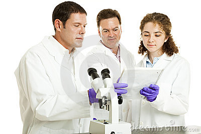 Scientists Read Test Results