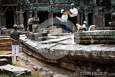 Scientists restore ruins Angkor Wat UNESCO site Editorial Stock Photo