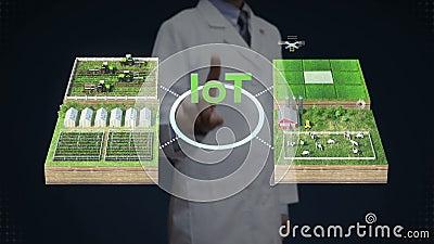 Scienziato, ingegnere, ingegnere, tecnologia 'IoT', agricoltura intelligente, fattoria intelligente, sensori collegano casa vinil stock footage