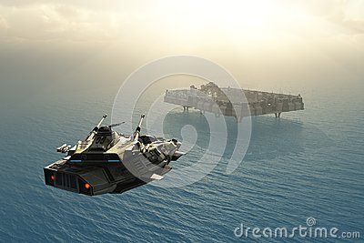 Scifi military installation on ocean planet