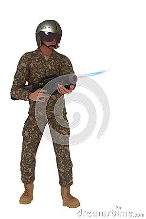 Scifi rebel firing plasma rifle