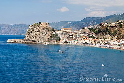 Scilla castle and sea bay