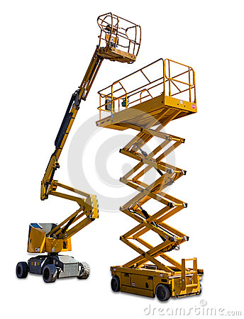 Free Scissor Lift And Articulated Boom Lift Stock Photography - 56639932