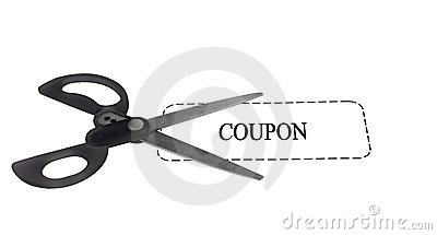 Scissors with coupon
