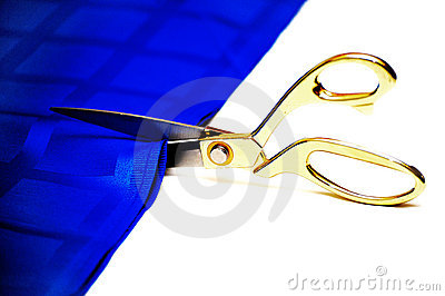 Scissors cut a fabric