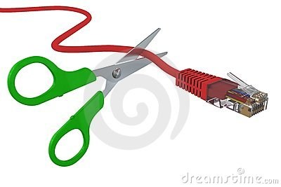 Scissors cut the network cable RJ45