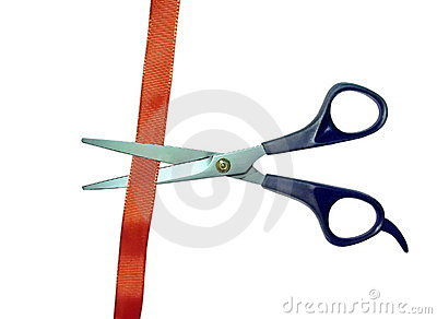 Scissors cut red tape