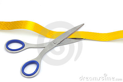 Scissors cut the ribbon