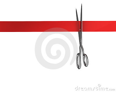 Scissors cut the ribbon top view