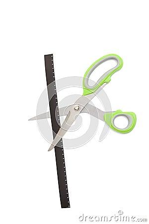 Scissors cut a tape film