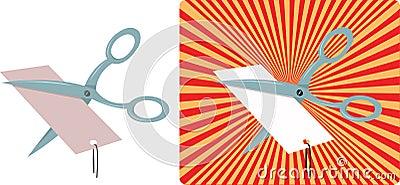 Scissors cutting a price tag