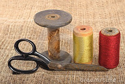 Scissors And Spools Royalty Free Stock Photos - Image: 23493128