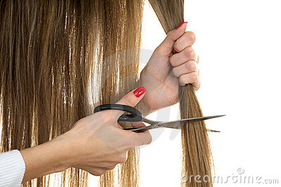 Scissors trying to cut long hair