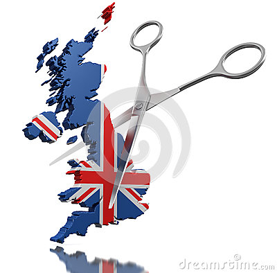 Scissors and United Kingdom (clipping path included)