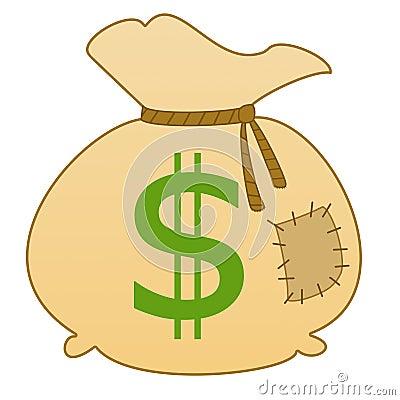 Säck med dollar för ett tecken
