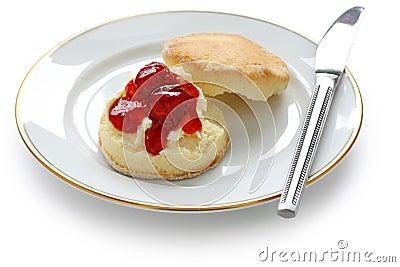 Scone,strawberry jam,clotted cream