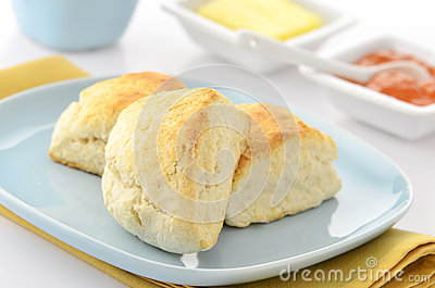 Scones with butter and jam