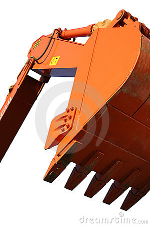 Scoop of the building excavating machine of orange color
