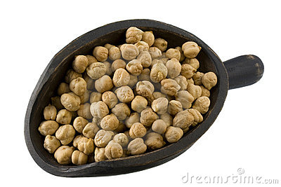 Scoop of chickpea (garbanzo beans) isolated