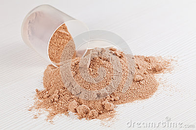 Scoop of chocolate whey isolate protein powder