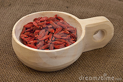 Scoop of dried Tibetan goji berries (wolfberries)