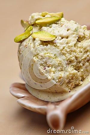 Scoop of homemade pistachio ice