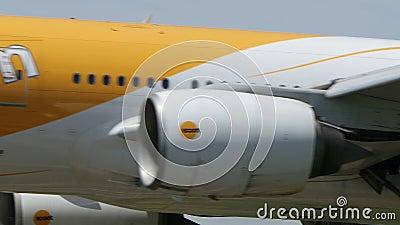 Scoot Airlines Boeing B777, der nach Narita landet stock video