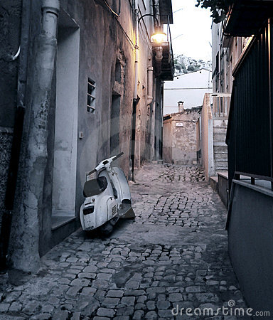 Scooter in alleyway