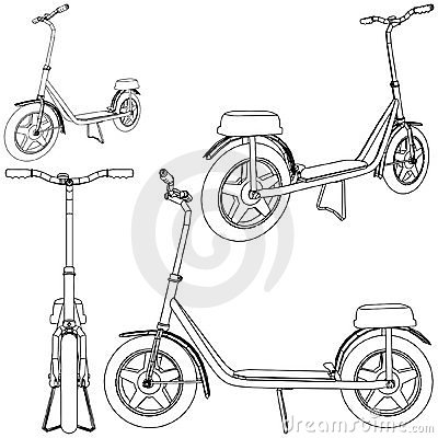 Scooter Bicycle Vector 01