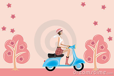 Scooter girl on cherry blossoms