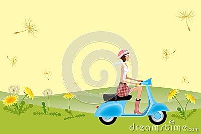 Scooter Girl on Dandelion Seeds