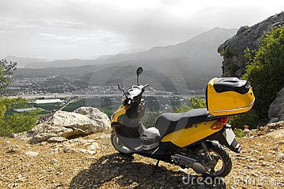 Scooter in mountains