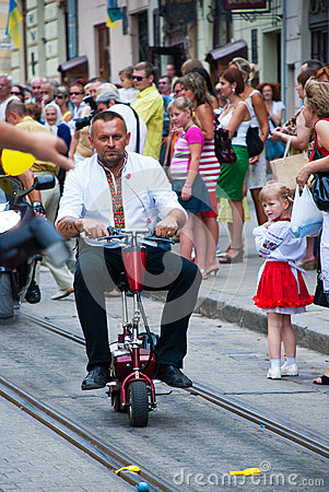 Free Scooter Rider On Ukraine Independence Day Stock Image - 86541251