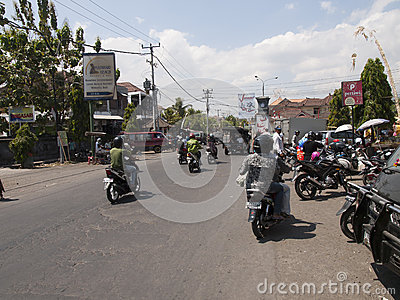 scooters on the road in Bali, Indonesia Editorial Stock Image