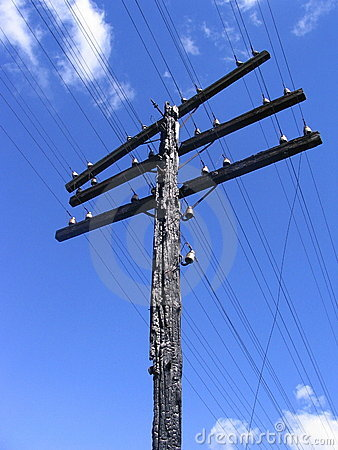 Scorched cable column with wires