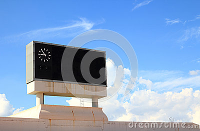 Score board on blue sky