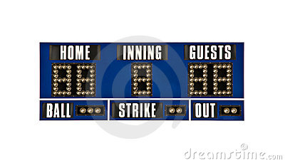 Scoreboard baseball isolated