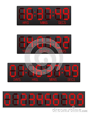 Scoreboard digital countdown timer  illustration