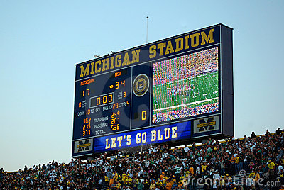 Scoreboard - Michigan vs. Michigan State game Editorial Photo