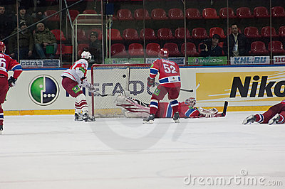 Scored goal in the CSKA gate Editorial Stock Image