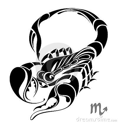 Scorpio zodiac vector sign. Tattoo design