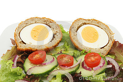 Scotch egg salad closeup