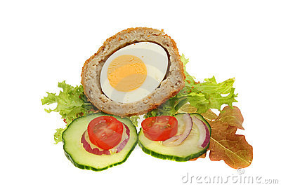 Scotch egg and salad garnish