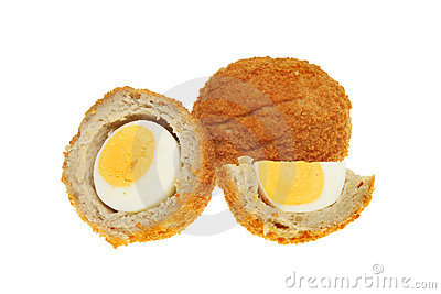 Scotch eggs on white