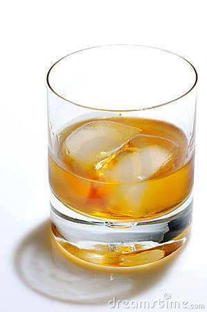 Scotch and ice in a glass