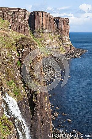 Scotland-The Kilt Rock Cliffs on Isle of Skye