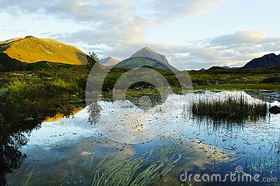 Scotland landscape showing mountains lake and reflection